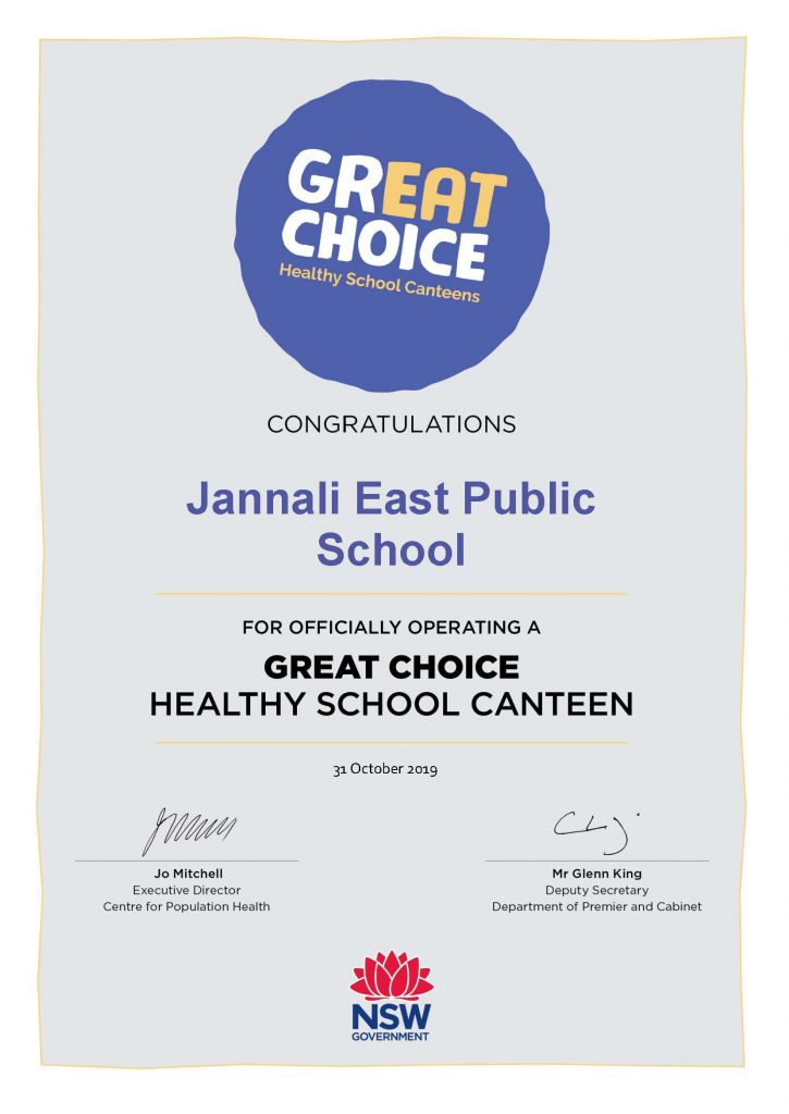 Healthy School Canteen Certificate